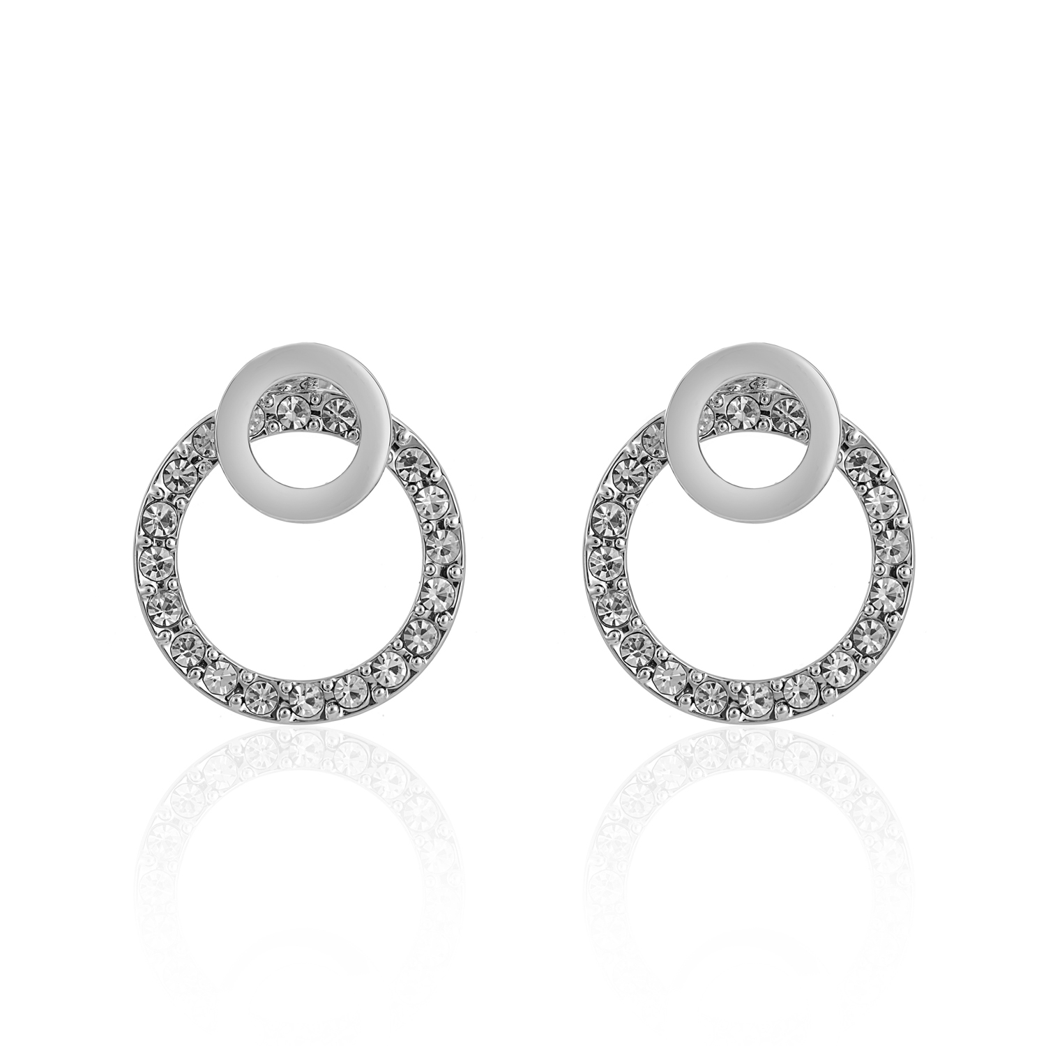 Cameo Silver Circle Earrings