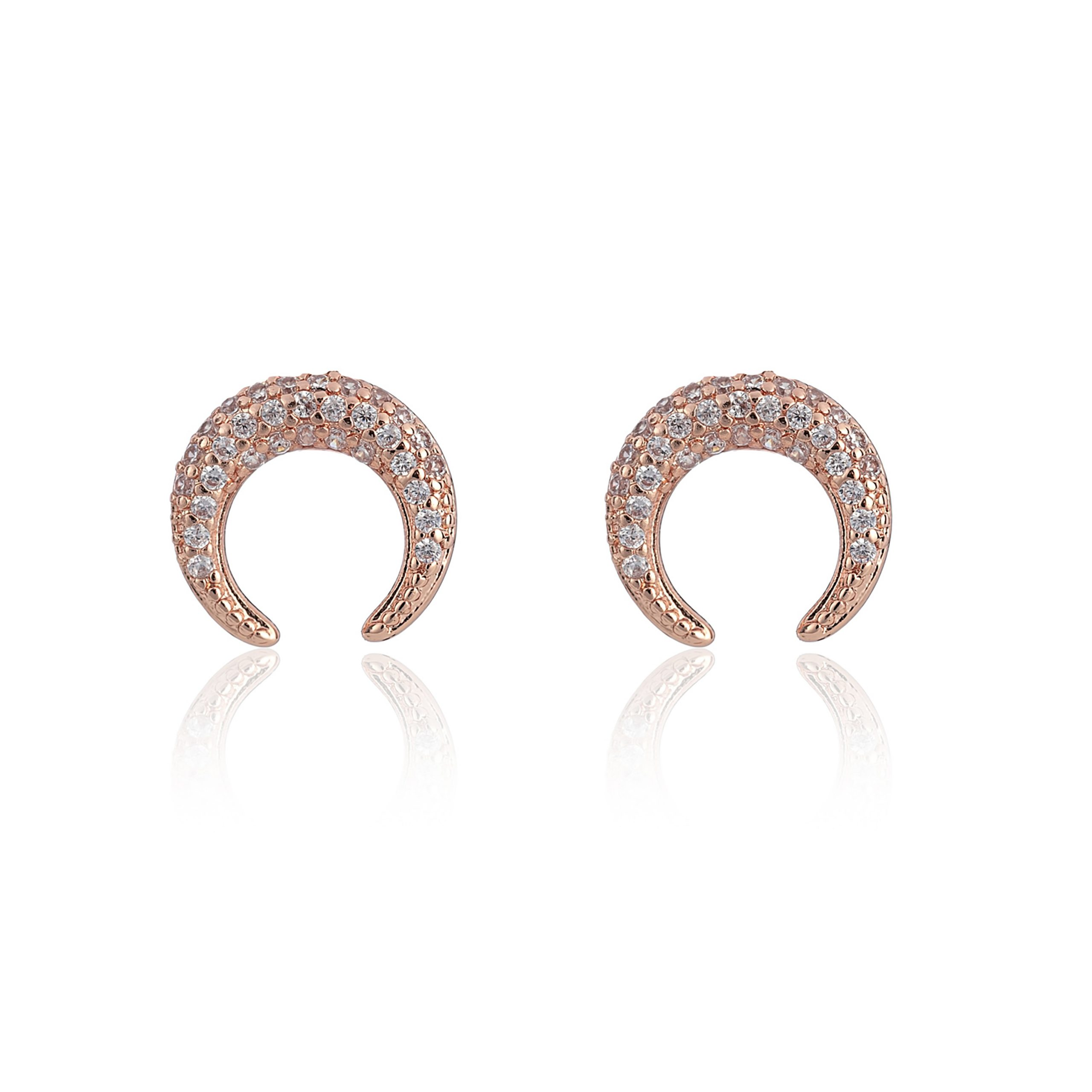 Rose Gold Wonderlust Crystal Horn Earrings