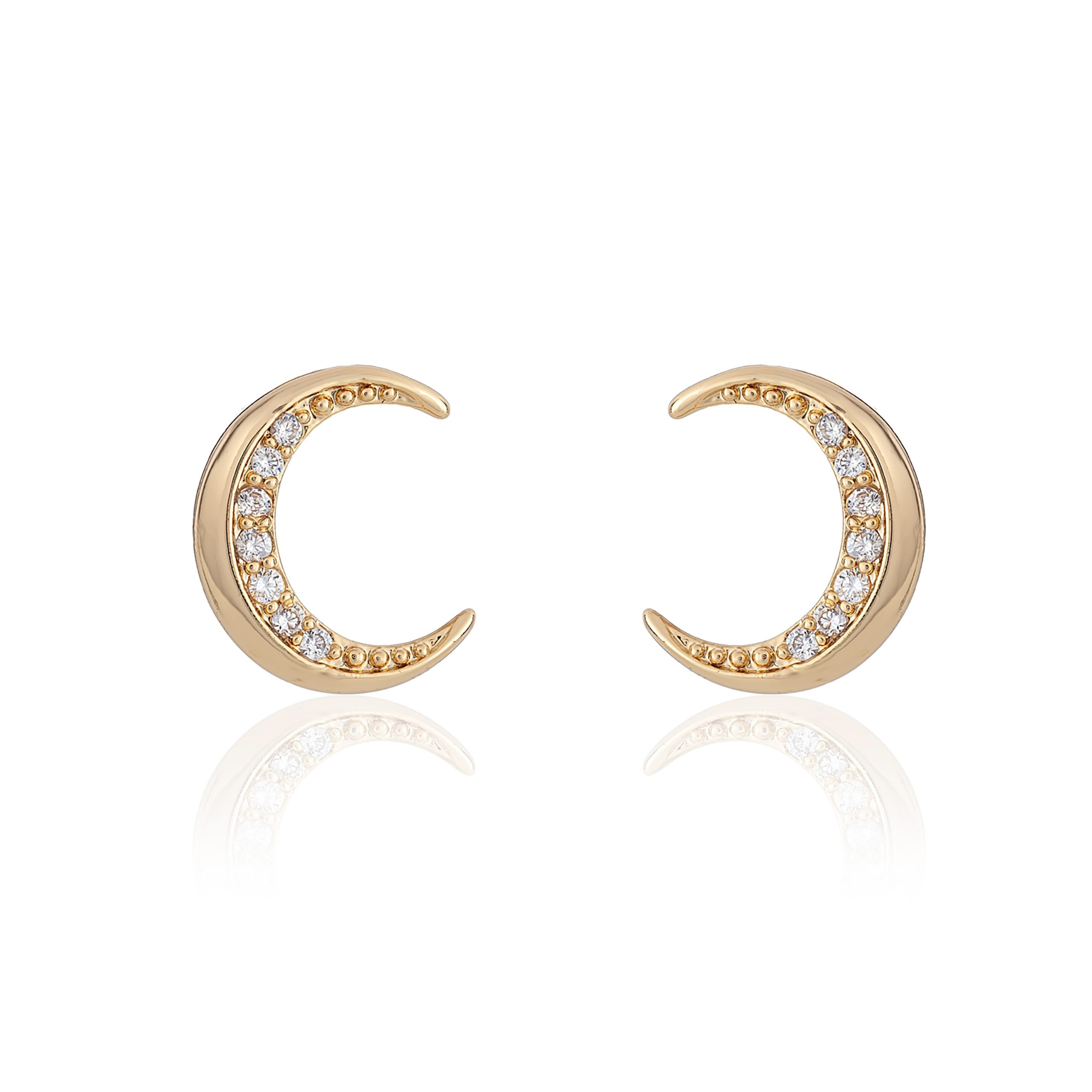 Gold Wonderlust Small Crystal Horn Earrings
