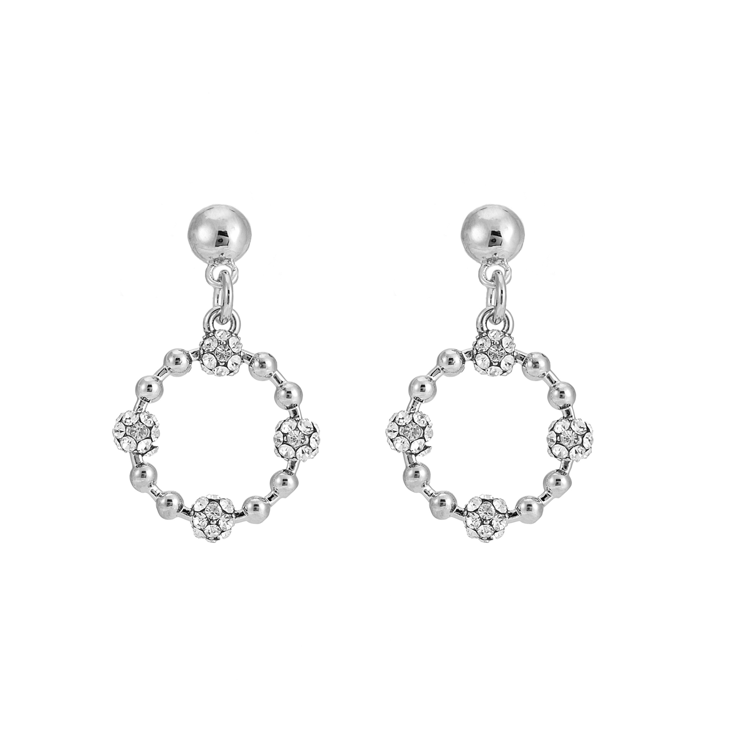 SILVER Cameo Crystal Cluster Earrings