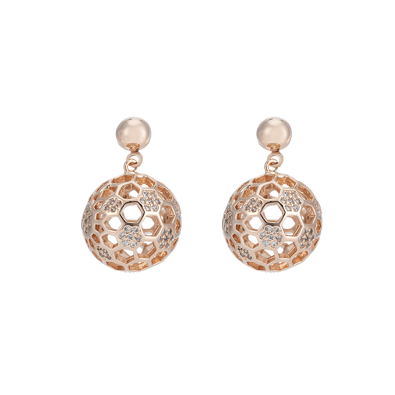 ROSE GOLD Cameo Honeycomb Crystal Earrings