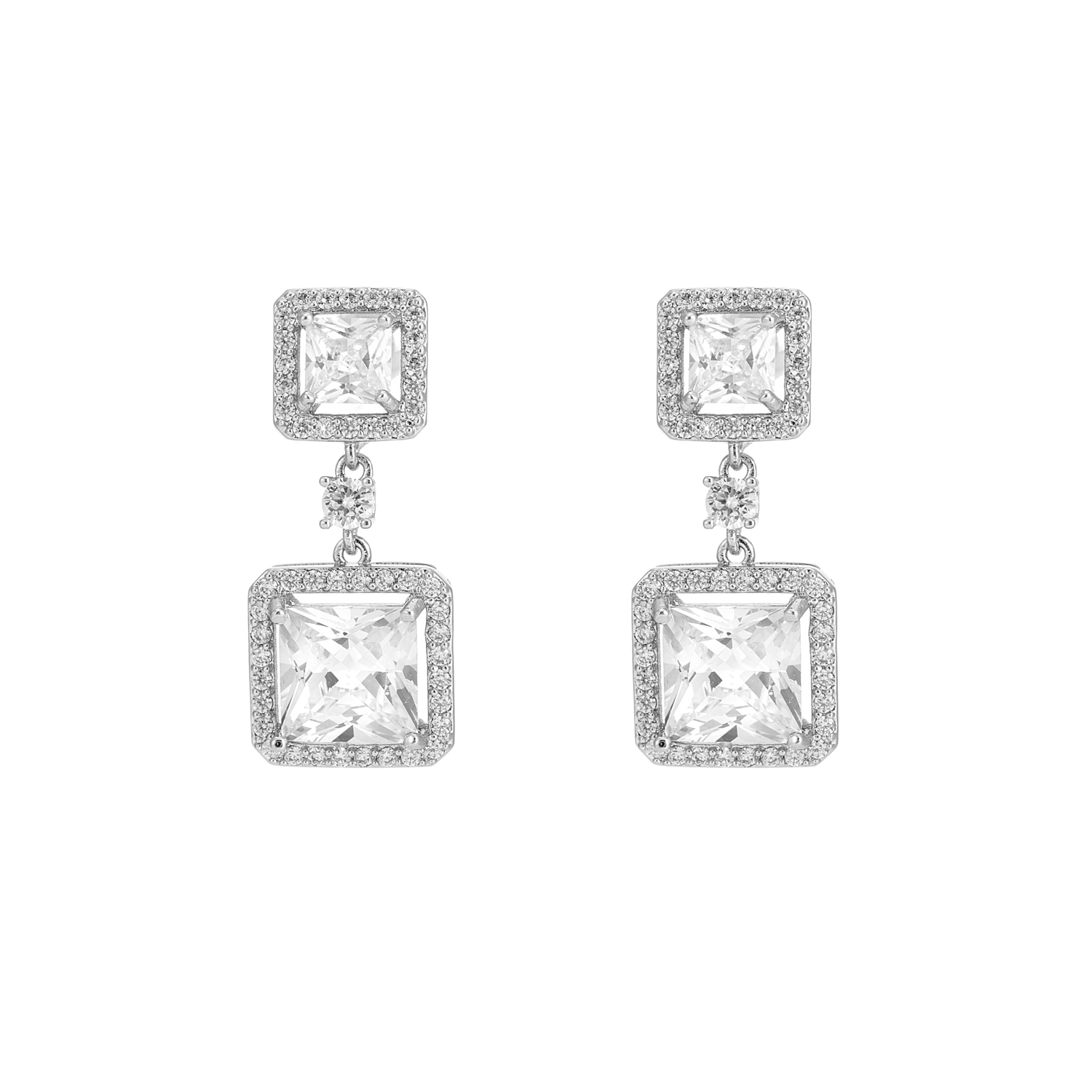 SILVER Be Bold Square Crystal Earrings