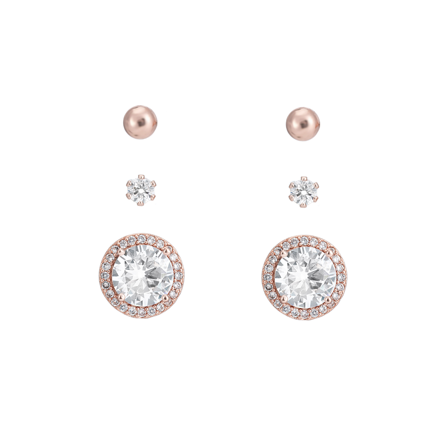 ROSE GOLD Classic Sparkle Earring Gift Set