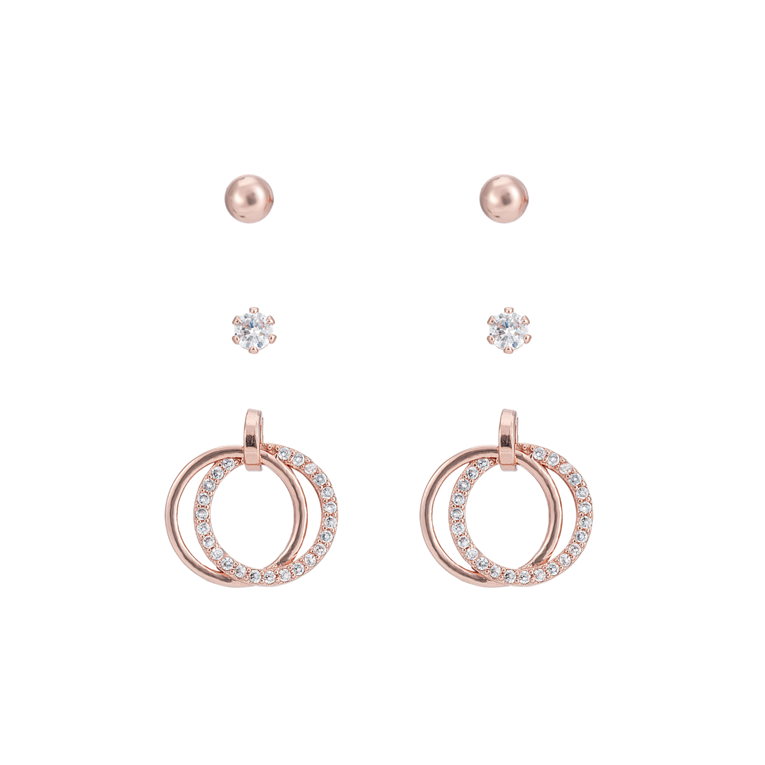 ROSE GOLD Eternity Sparkle Earring Gift Set