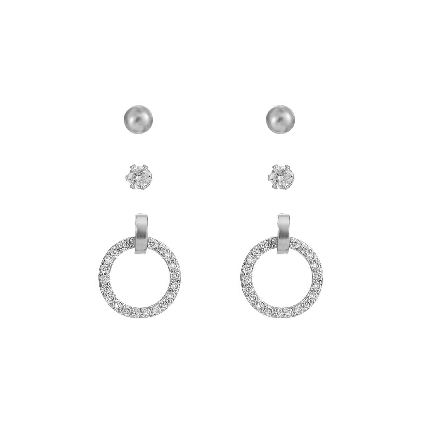 SILVER Halo Sparkle Earring Gift Set
