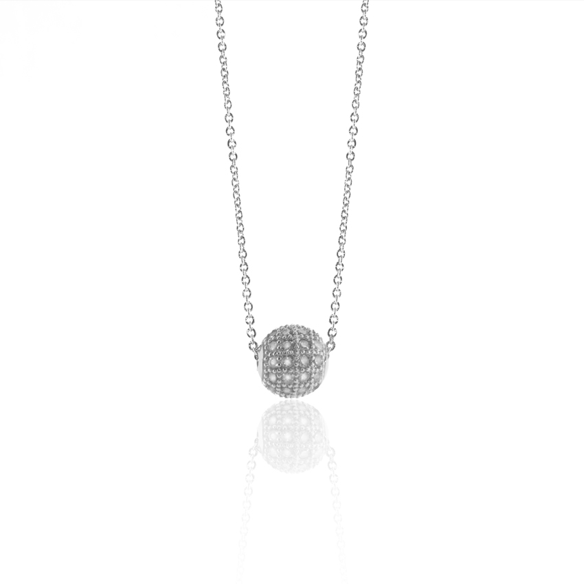 Silver Pave Ball Necklace