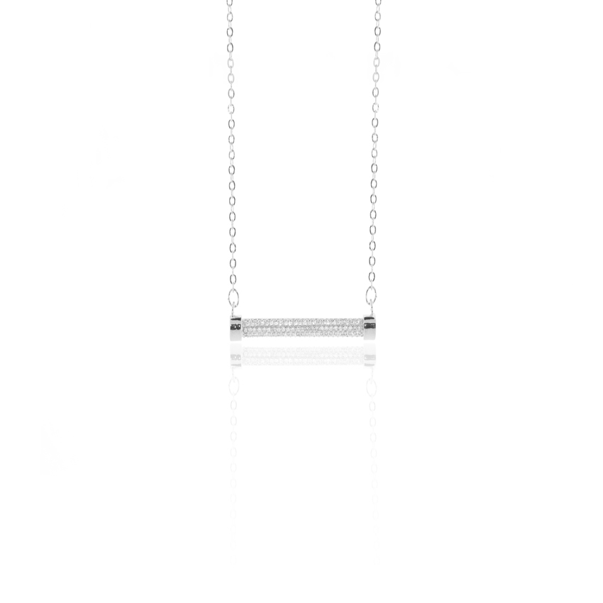 Silver Pave Eternal Bar Necklace