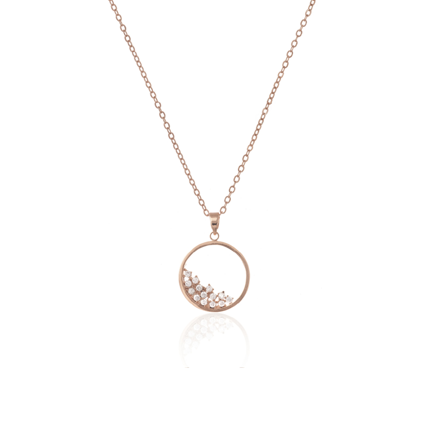 Rose Gold Pave Cirque Necklace