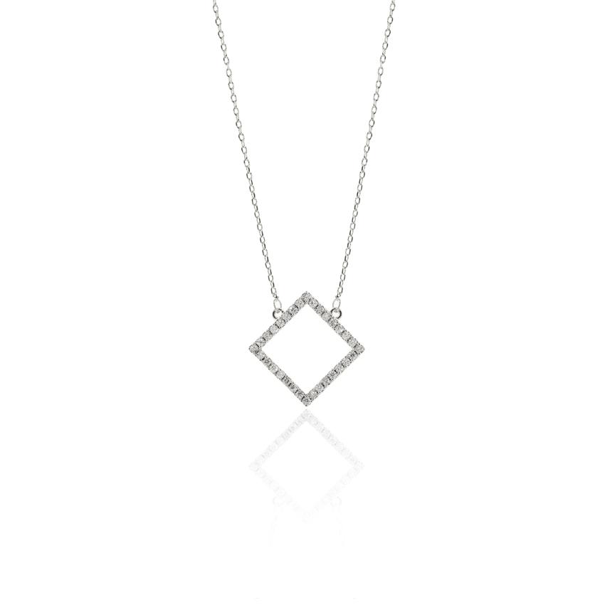 Silver Deco Square Necklace