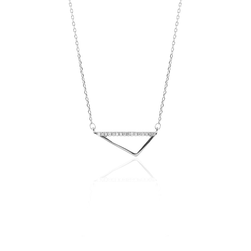 Silver Deco Triangle Necklace