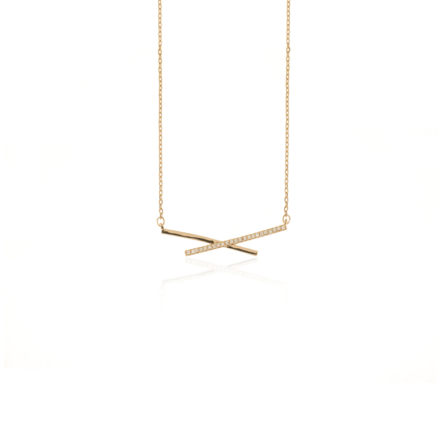 Rose Gold Deco Linear Necklace