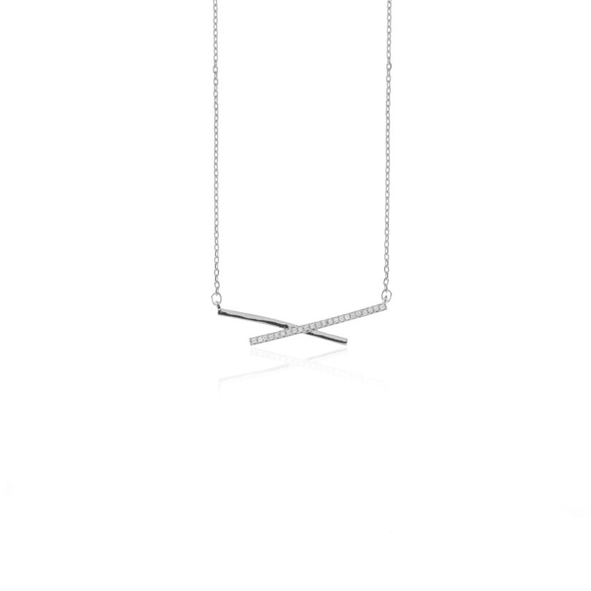 Silver Deco Linear Necklace