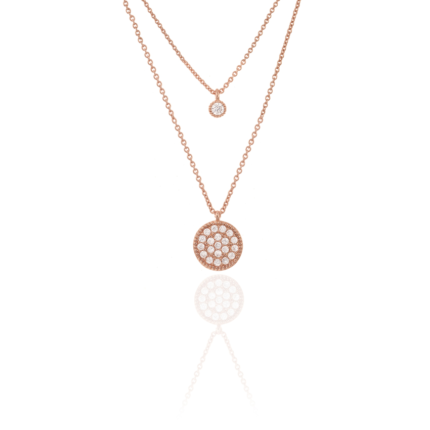 Rose Gold Charm Duo Disc Chain Necklace