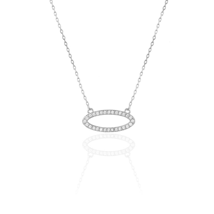 Silver Pave Oval Necklace