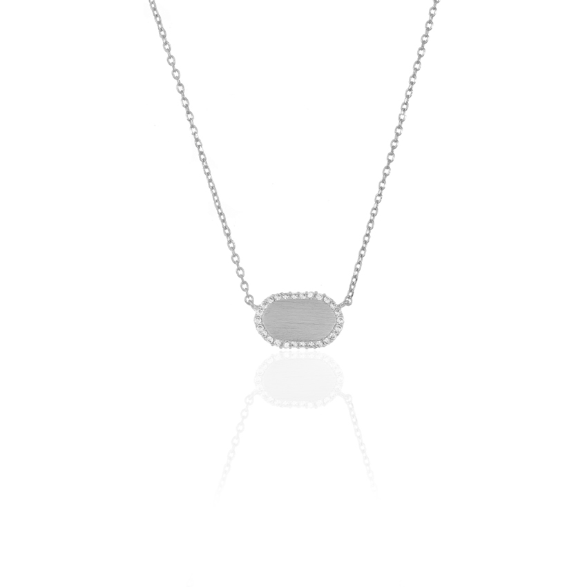 Silver Pave Dainty Oval Necklace