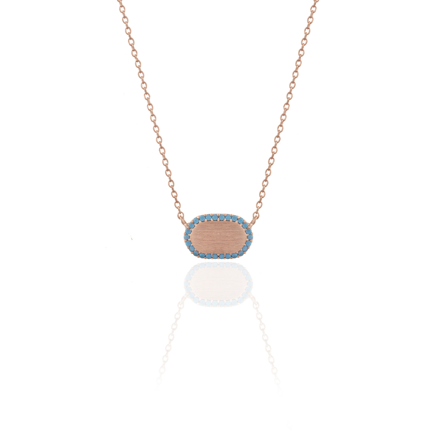 Rose Gold Riviera Dainty Oval Necklace