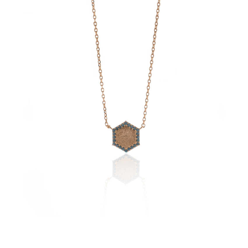 Rose Gold Ravenna Hexagon Necklace