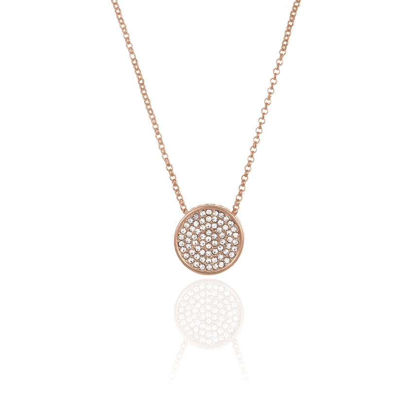 Rose Gold Cameo Pave Disc Necklace