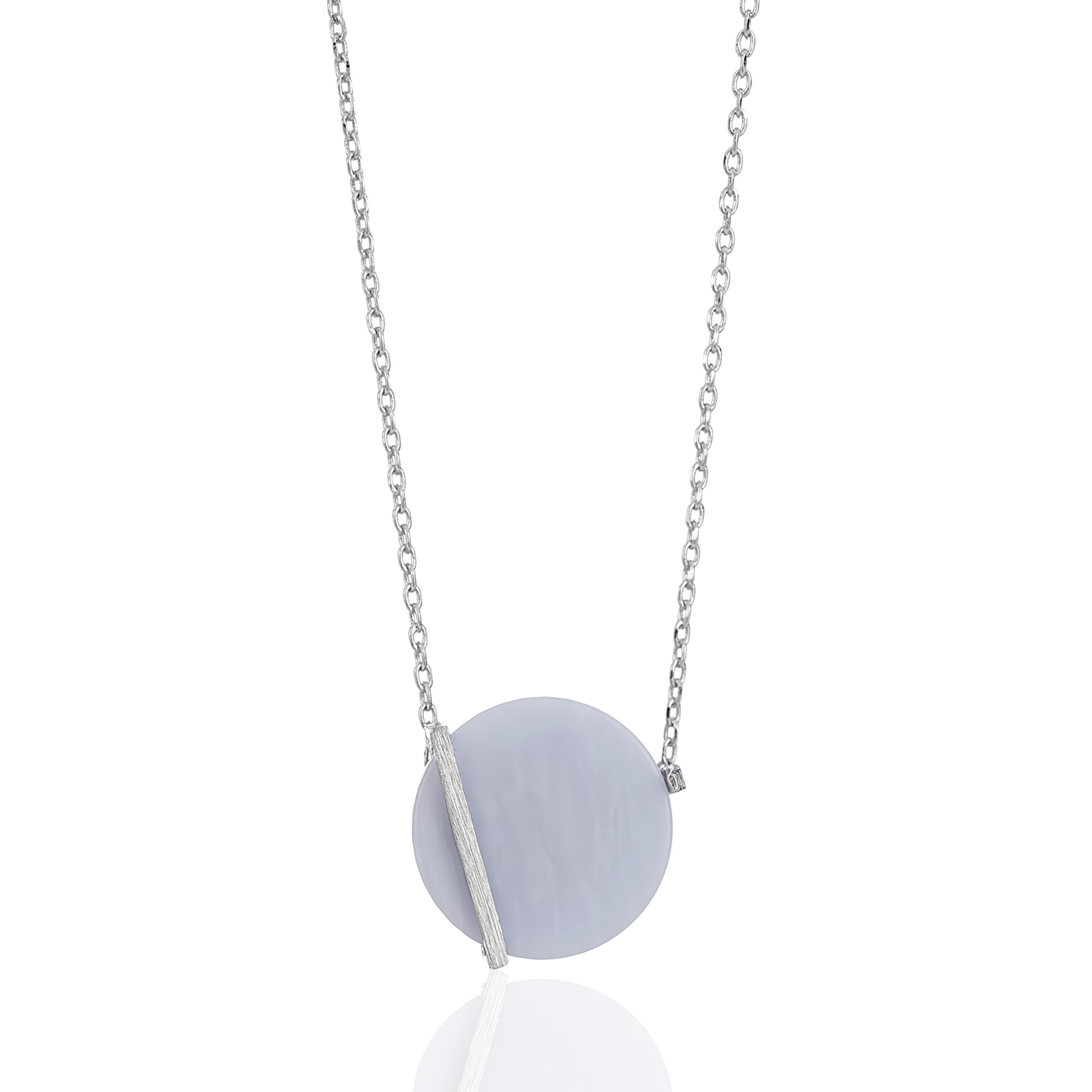 Silver Cosmic Violet Disc Necklace