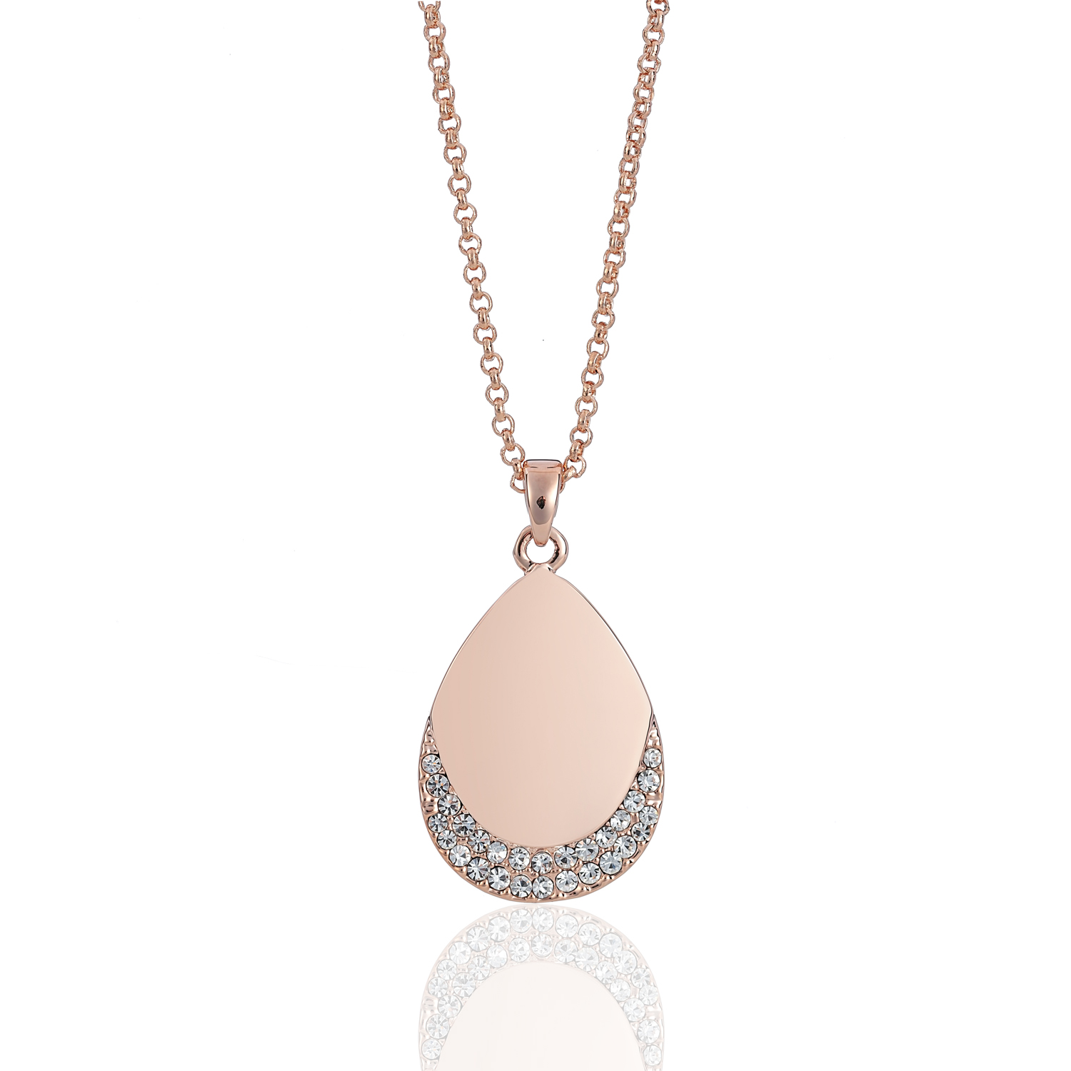Cameo Rose Gold Teardrop Necklace