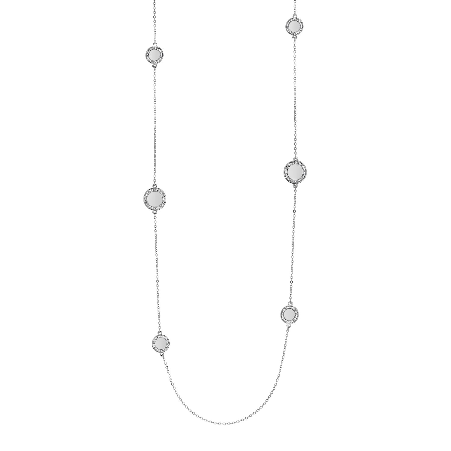 Cameo Silver Long Disc Necklace