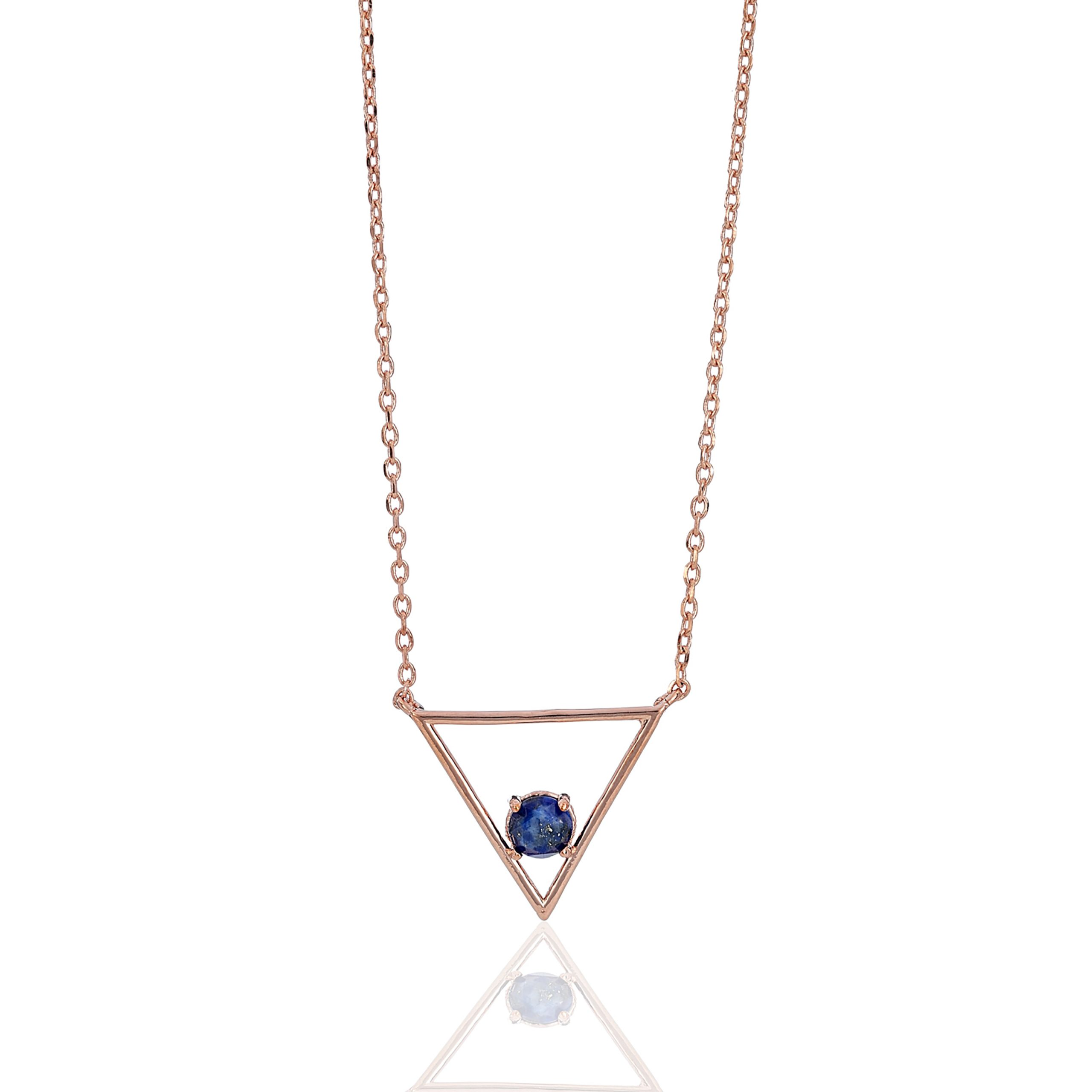 Rose Gold Cosmic Midnight Blue Prism Necklace