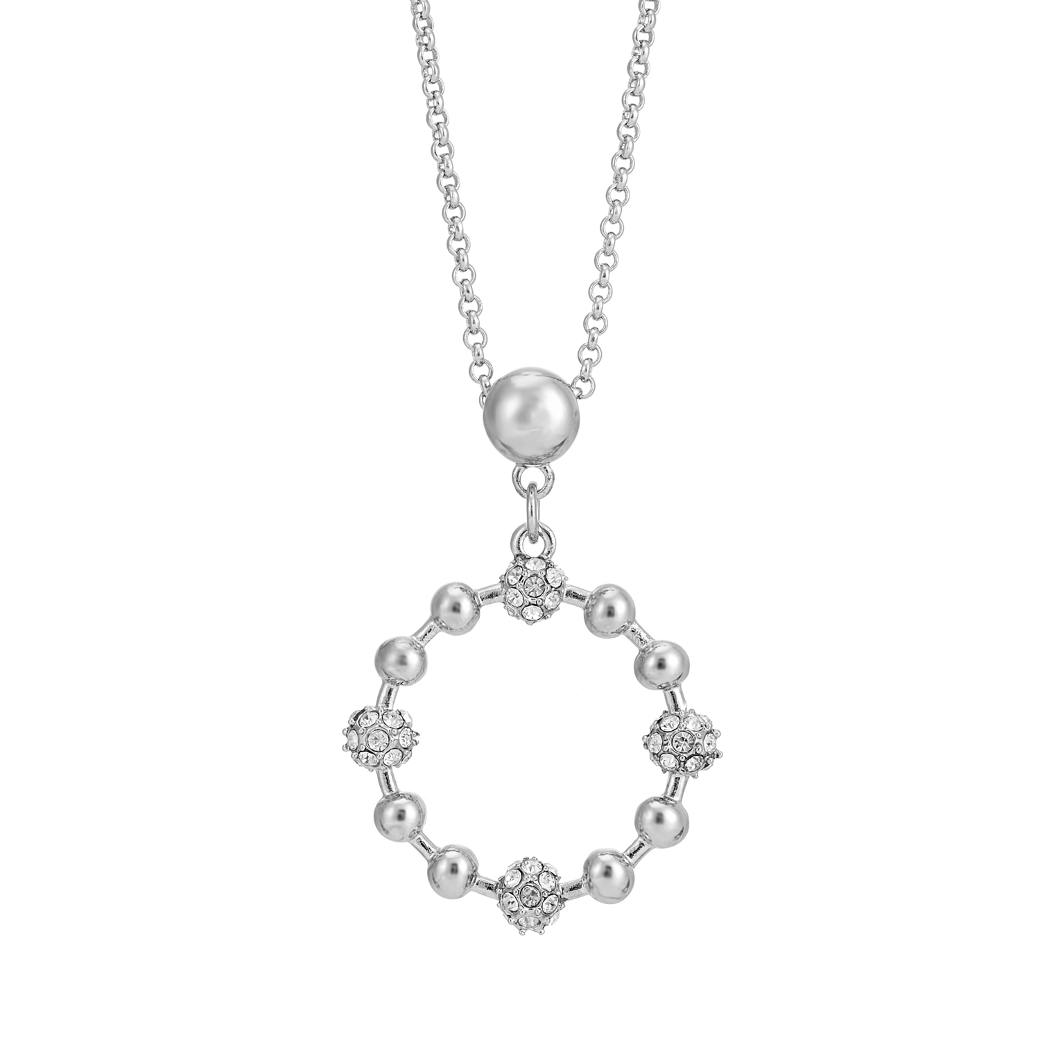 SILVER Cameo Crystal Cluster Necklace