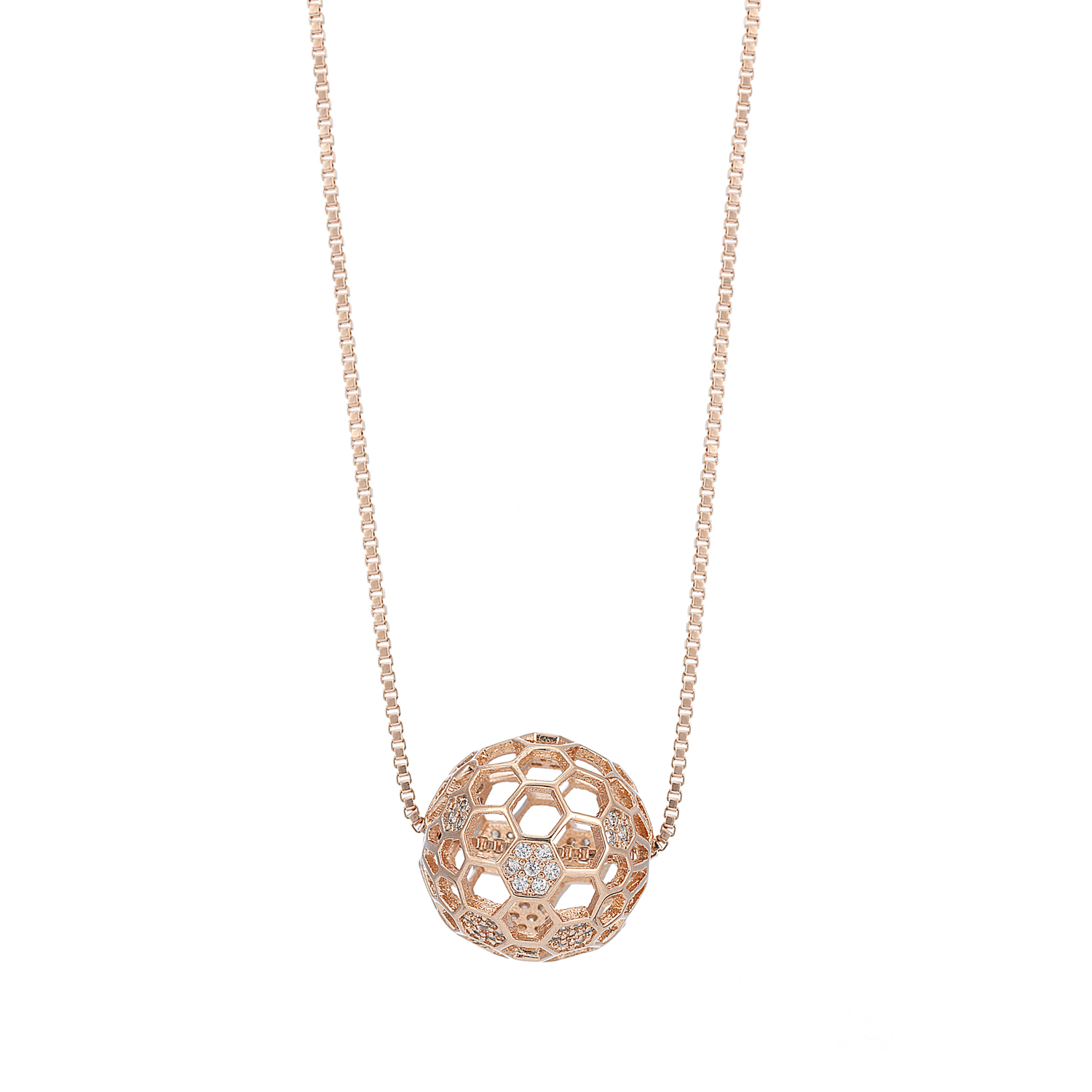 ROSE GOLD Cameo Honeycomb Crystal Necklace