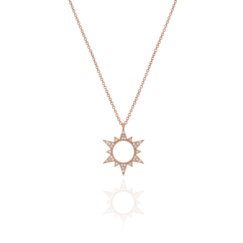 Rose Gold Wonderlust Sun Necklace