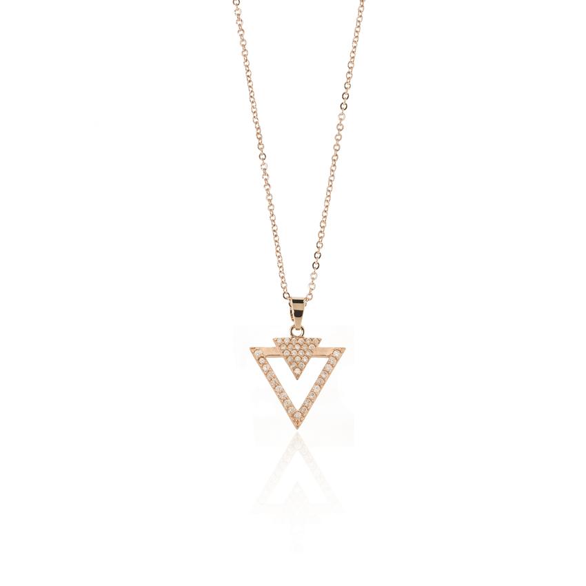 Rose Gold Deco Dart Necklace