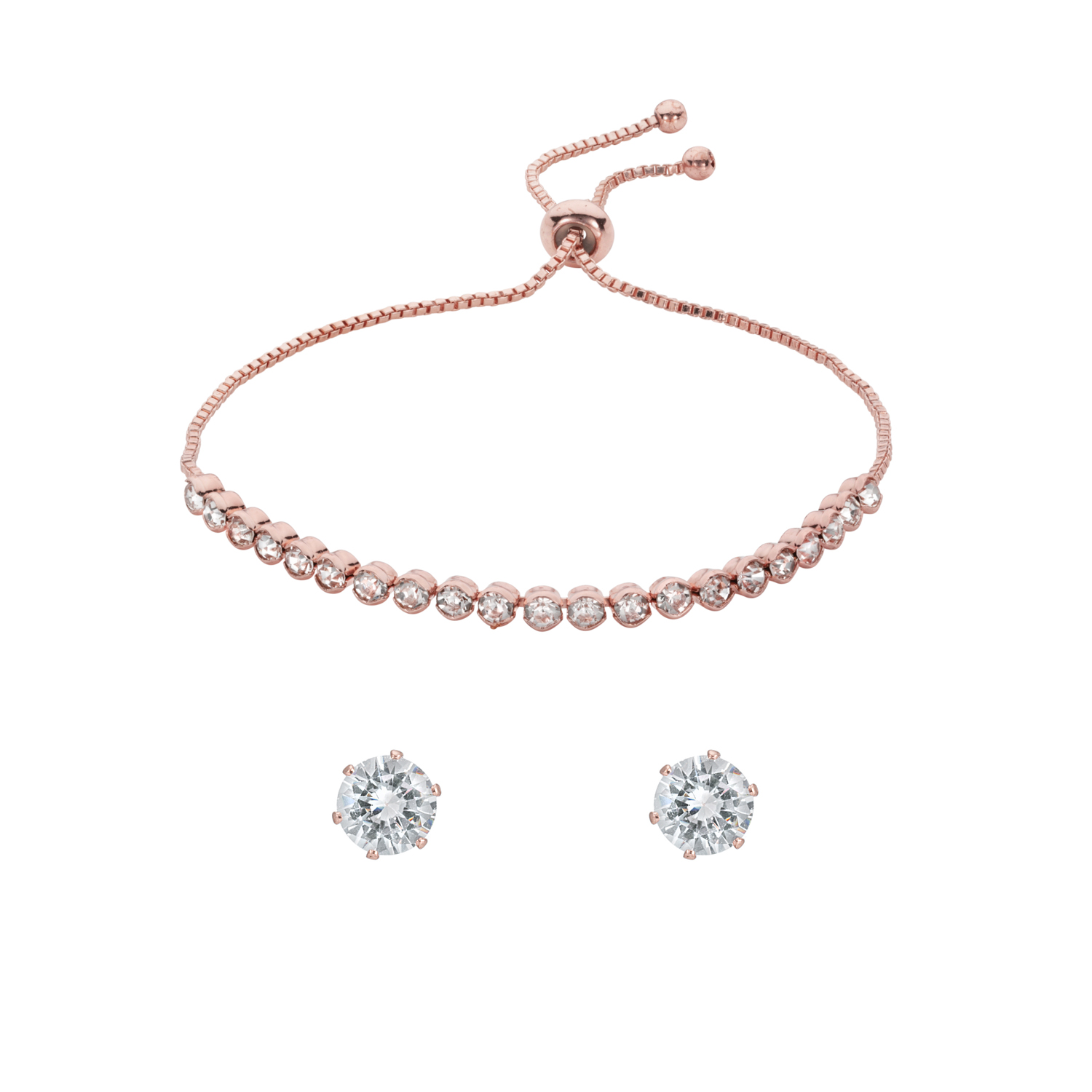 ROSE GOLD Capella Crystal Toggle Bracelet Gift Set