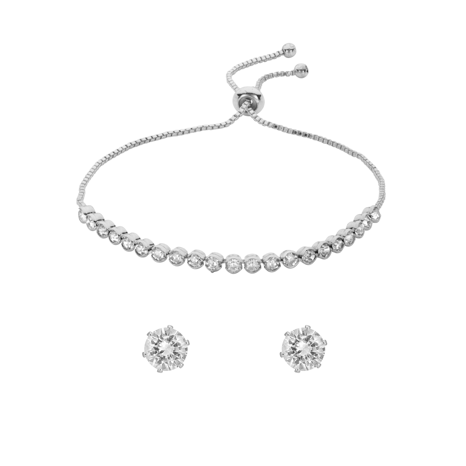 SILVER Capella Crystal Toggle Bracelet Gift Set