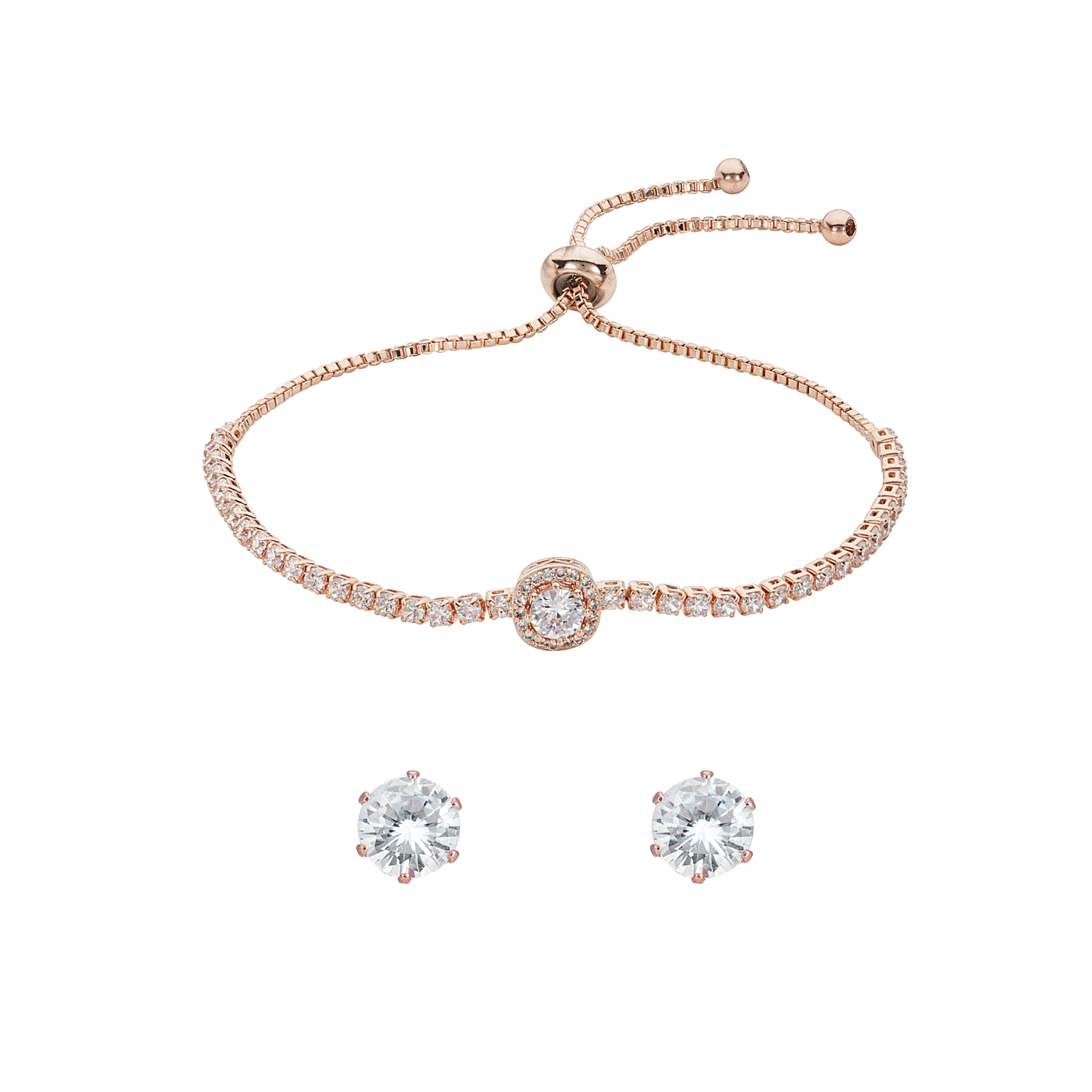 ROSE GOLD Iris Toggle Crystal Bracelet Gift Set