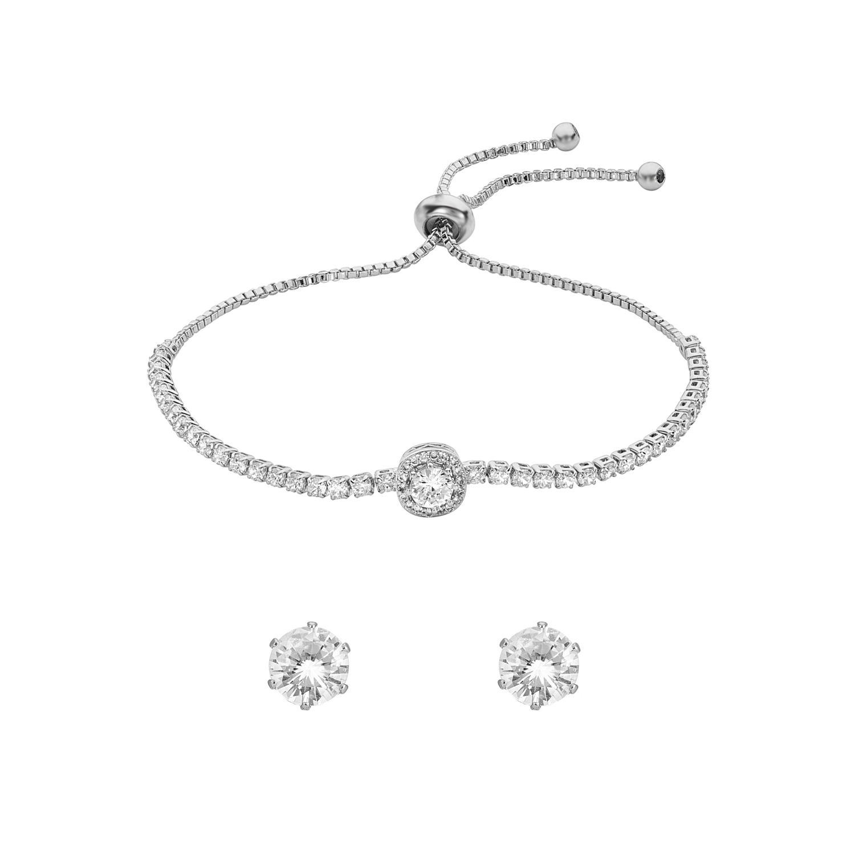 SILVER Iris Toggle Crystal Bracelet Gift Set