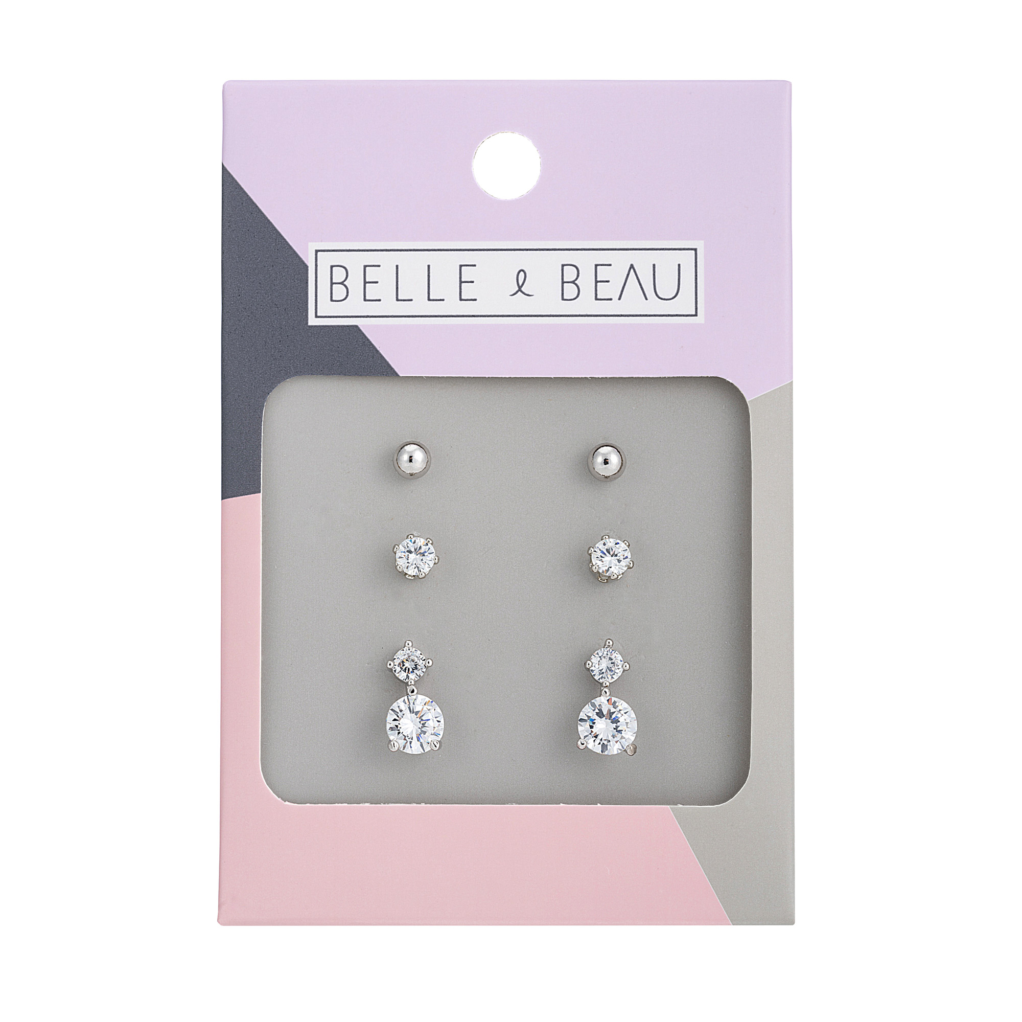 SILVER Cocktail Crystal Charm Earring Set