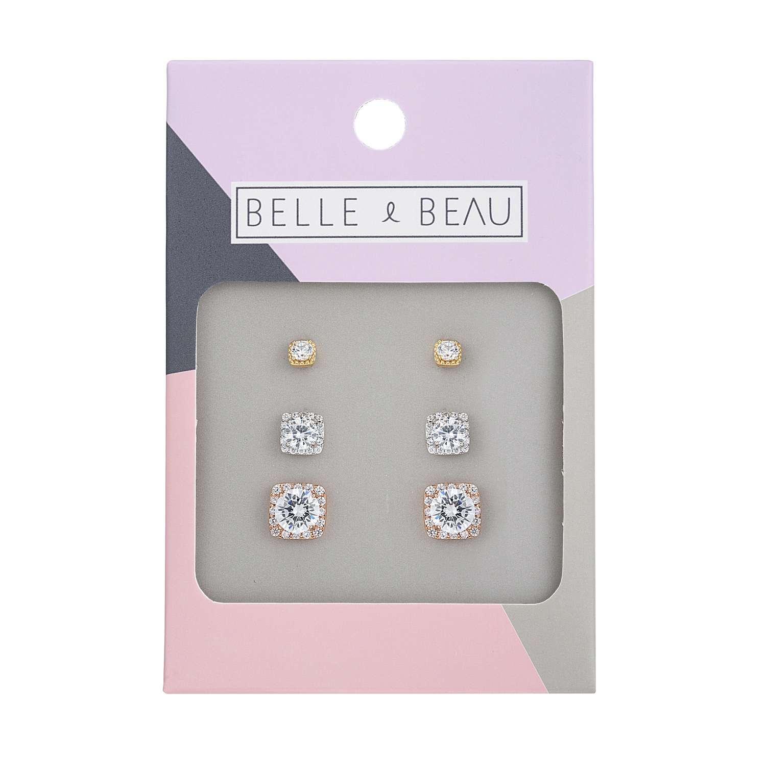 Cocktail Crystal Square Earring Set