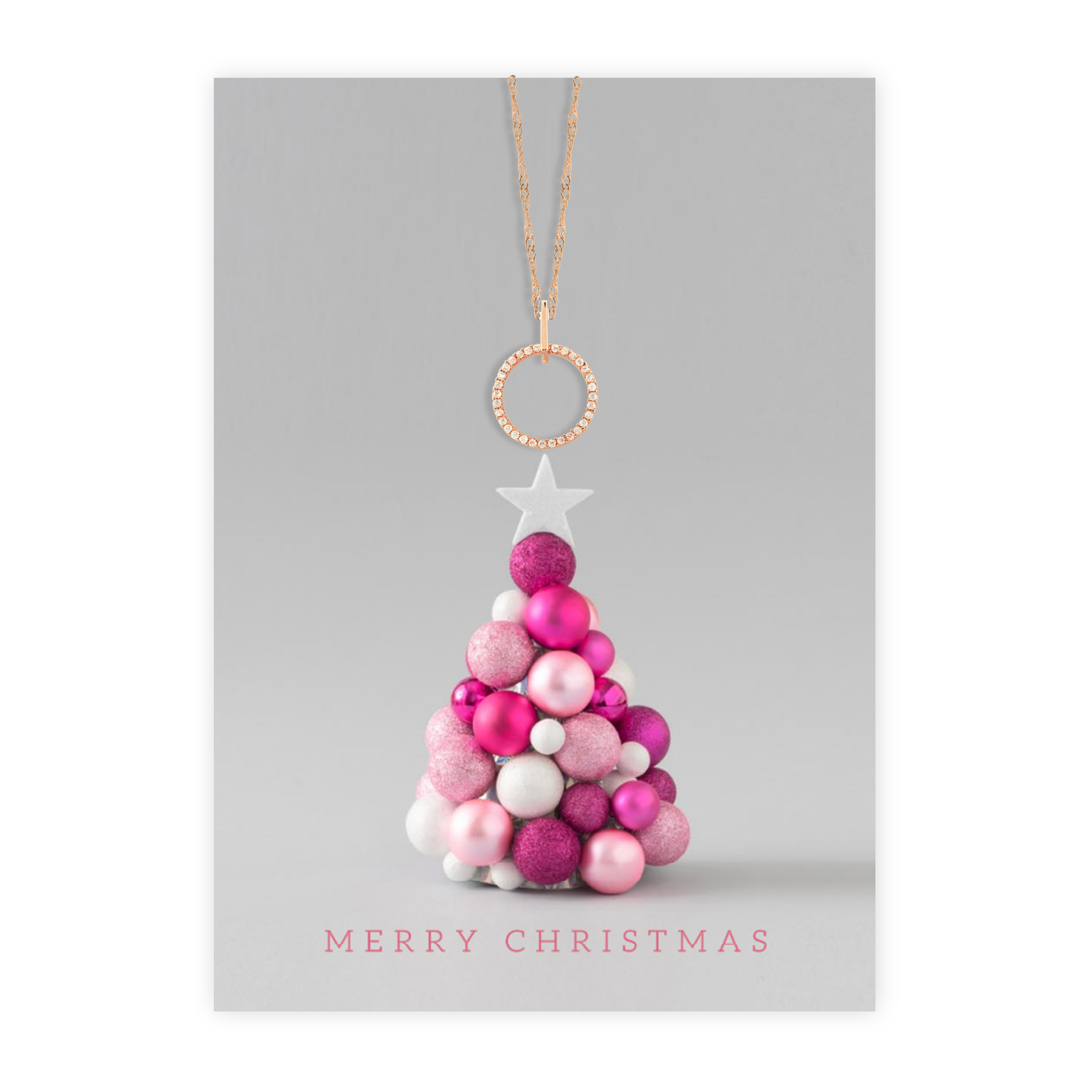 Christmas Card With Rose Gold Halo Pendant