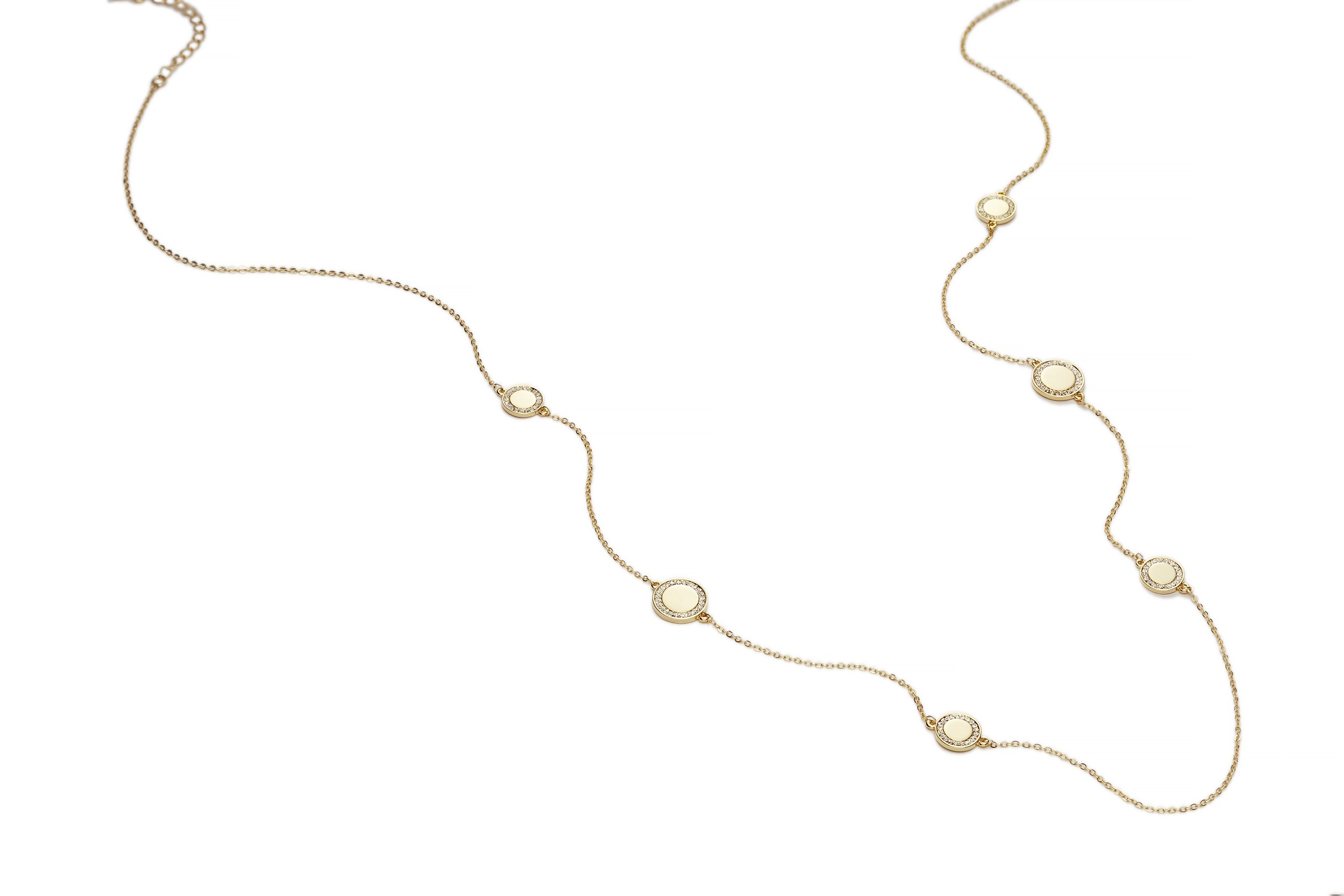 GOLD Cameo Long Disc Necklace