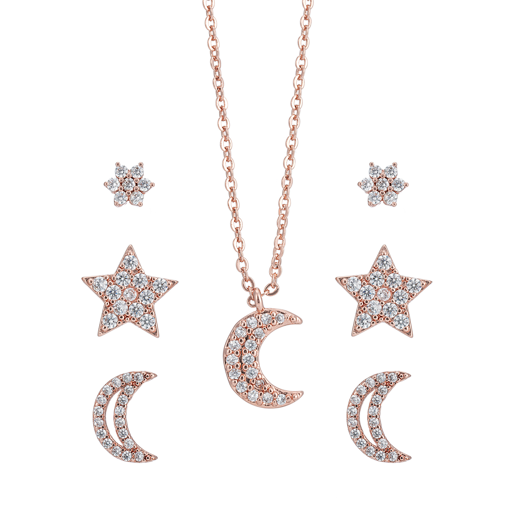 Rose Gold Moon & Star Necklace & Earring Set