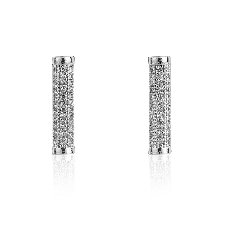 Silver Eternal Bar Earrings