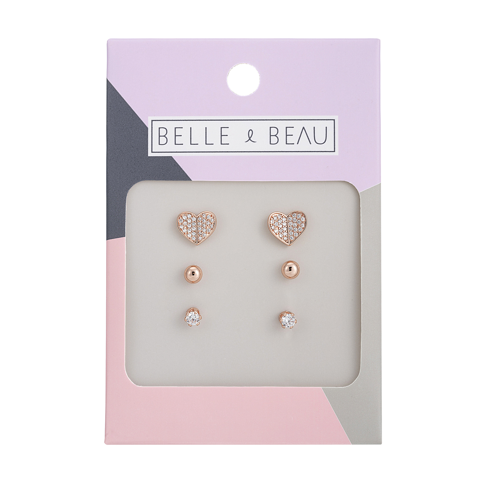 ROSE GOLD Cocktail Love Heart 3 Piece Earrings Set