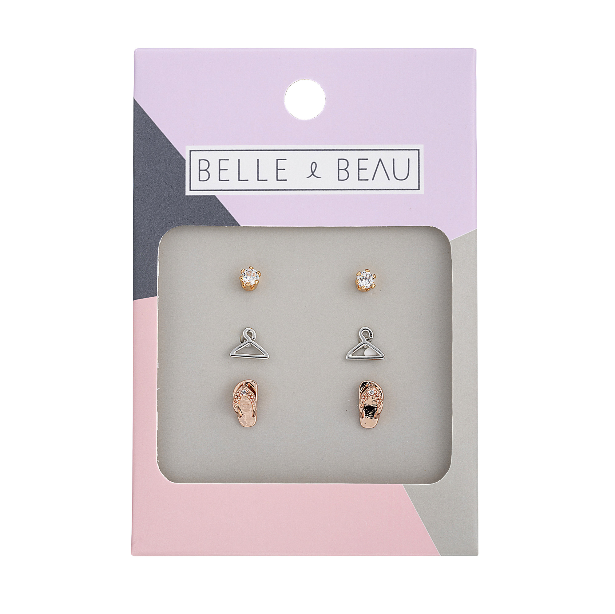 Mixed Metal Cocktail Holiday 3 Piece Earring Set